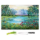 DiaNoche Designs Cutting Boards from DiaNoche Designs by Karen Tarlton - Meditation Pond, Large 15'' x 11'', Not Applicable