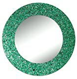 Cheap DecorShore 24″ Traditional Glass Mosaic Mirror, wall mirror, decorative wall mirror (Emerald Green Metallic)