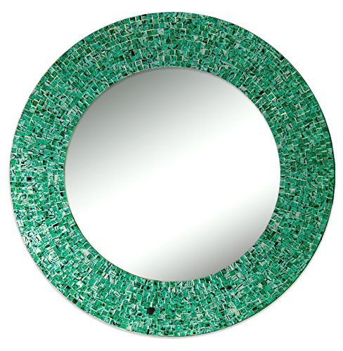 DecorShore green glass mirror - green wall art