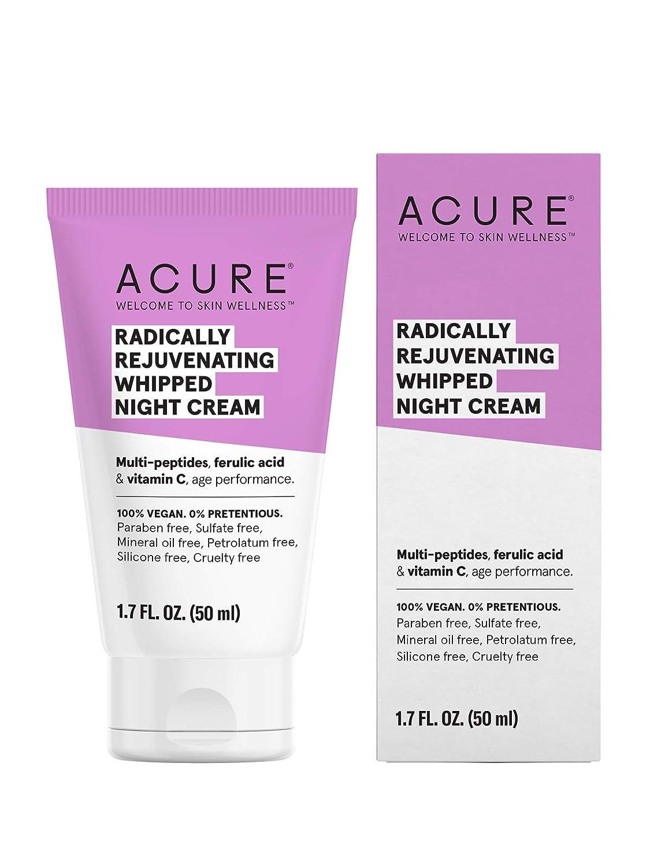 ACURE Radically Rejuvenating Whipped Night Cream | 100% Vegan | Provides Anti-Aging Support | Multi-Peptides, Ferulic Acid & Vitamin C - Hydrates & Rejuvenates | 1.7 Fl Oz