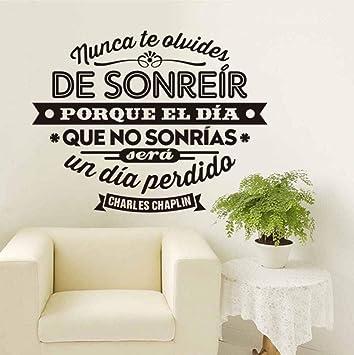 España Chaplin cita vinilos de pared adhesivos murales de arte sala de estar y dormitorio decoración para el hogar decoración de la casa 58x75 CM: Amazon.es: Bricolaje y herramientas