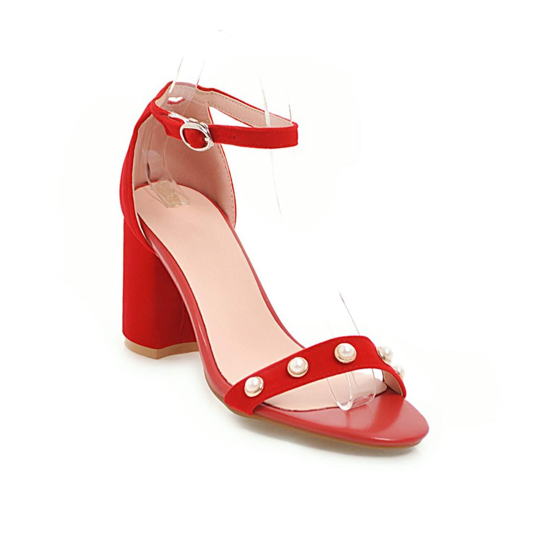 Women Sandals Ankle Strap Shoes Open Toe Chunky High Heels Sandals Party Dress Wedding Shoes Woman Plus Big Size 45,Black,10