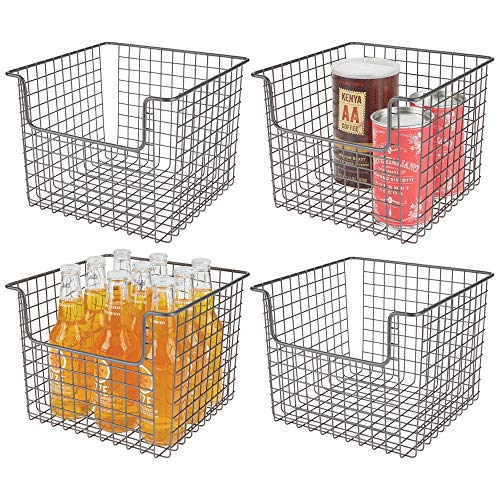 mDesign Metal Wire Open Front Organizer Basket for Kitchen Pantry, Cabinet, Shelf - Holds Canned Goods, Baking Supplies, Boxed Food Mixes, Fruits, Vegetables, Snacks - 10