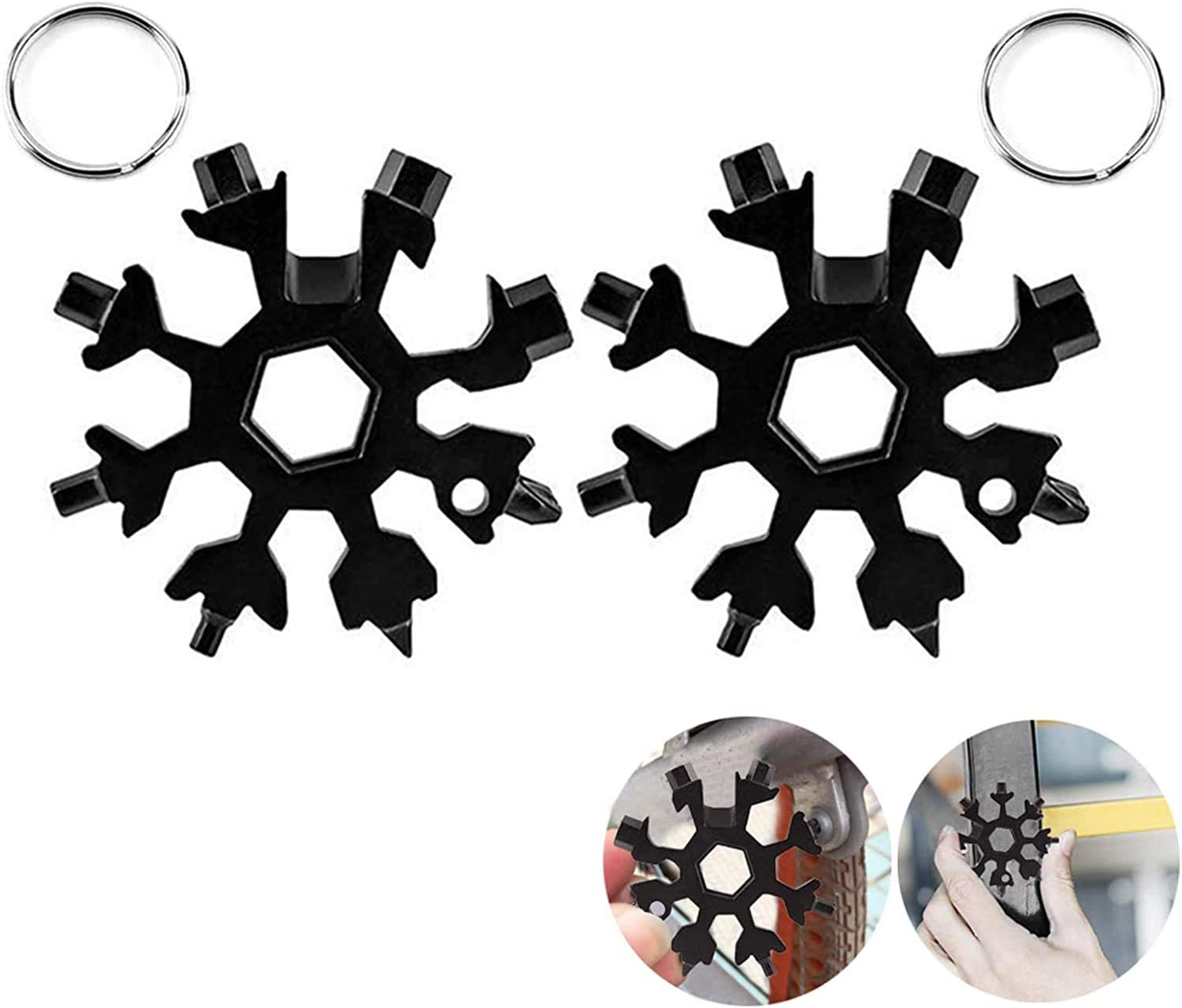 Details about  /18in1 Stainless Multi-Tool Portable Snowflake Shape Key Chain Screwdriver+case