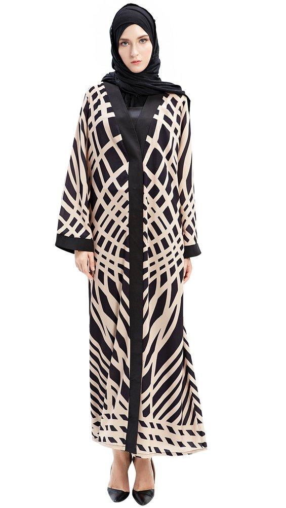 YI HENG MEI Women's Elegant Modest Muslim Islamic Buttons Full Length Twill Print Abaya Dress,Black,L