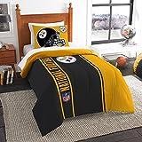 "Northwest NOR-1NFL835000078BBB 64"" x 86"" Pittsburgh Steelers NFL Soft & Cozy Twin Comforter Set"