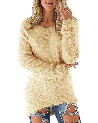 Minetom Damen Mode Herbst Winter Sweatshirt Lange Ärmel Shirts Rundhals  Tops Solide Farbe Pullover Jumper  Amazon.de  Bekleidung 273d194708
