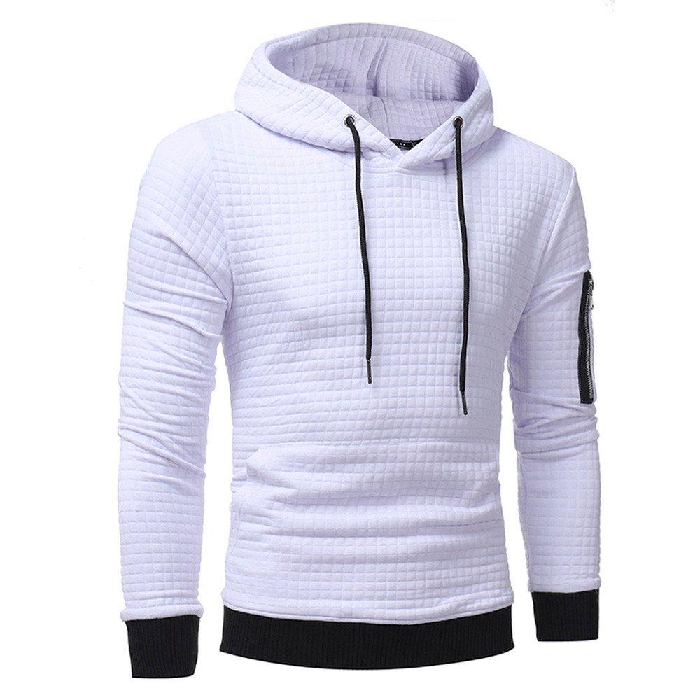 Siviki Mens Long Sleeve Plaid Hoodie Hooded Sweatshirt Tops Jacket Coat Outwear Solid Color Teen Boy