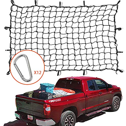 Voodonala 4'x6' Bungee Cargo Net Stretches to 8'x12' for Rooftop Cargo Rack for Pickup Truck, Trailer, Boat, or RV