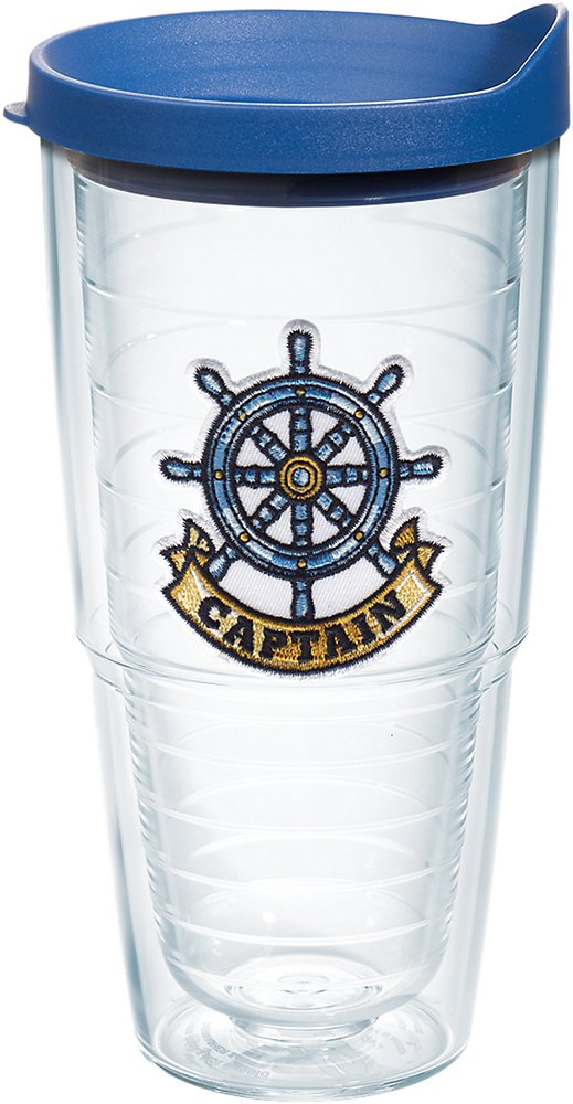 Clear Tervis 1167538 Captain Wheel Tumbler with Emblem and Blue Lid 24oz