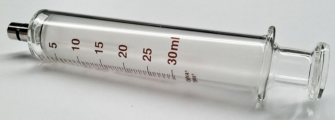 Glass Syringe, Metal Luer Lock, 30 mL