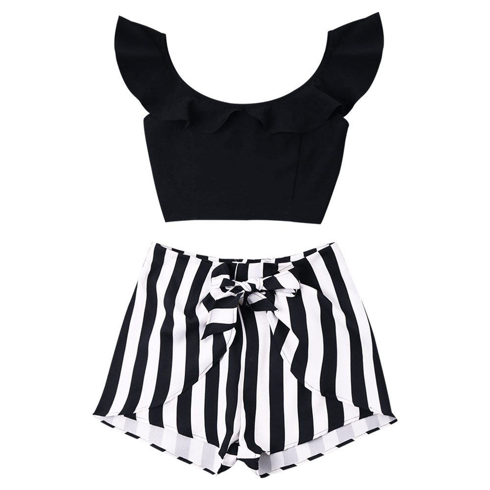 c3e36a2038 ZAFUL Women Tankini Swimsuit Ruffle Crop Top and Striped Shorts Set Cap  Sleeves Casual Suit 2 PCS at Amazon Women s Clothing store