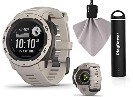 Amazon.com  Garmin Instinct (Tundra) Outdoor GPS Watch Power Bundle ... 1d1976d05ca