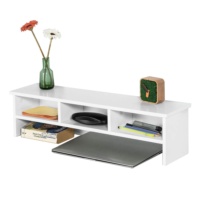 SoBuy FRG255-W multifunktionale Wandgarderobe Tischaufsatz Wandregal Hängeregal Regal mit 3 Fächern,weiß, BHT ca.: 70x18x16cm weiß