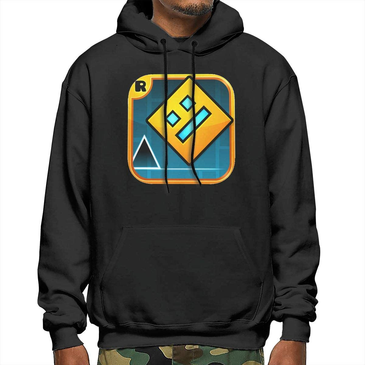 NOT Geometry Dash Men's/Boys Hoodies Long Sleeve Pocket Drawstring Sweatshirt