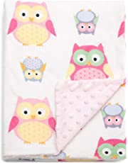 Boritar Baby Blanket for Girls Soft Minky With Double Layer Dotted Backing, Lovely Pink Owls Printed 30 x 40 Inch