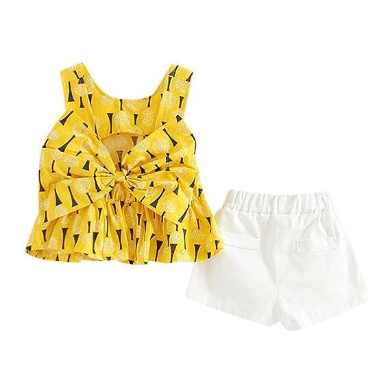 Conjuntos Para Bebé NiñAs DRESS Start® Blusa Camiseta Tops Chaleco Bowknot Linda ImpresióN De Dulce