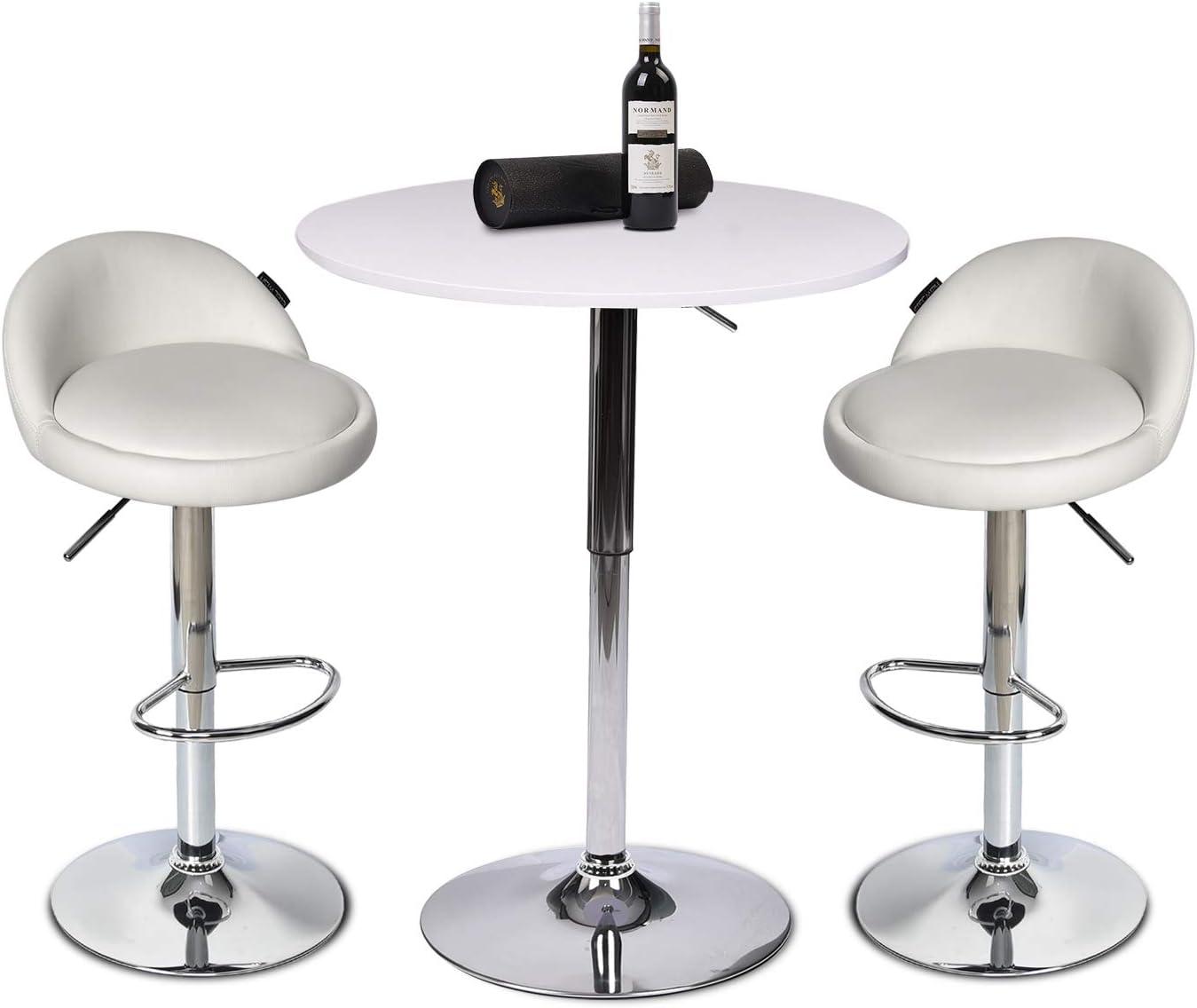 247SHOPATHOME Sonlen Round Pub Table White