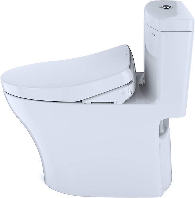 Ebony Ebony-MS646124CUMF TOTO MS646124CUMF#51 Aquia IV One-Piece Elongated Dual Flush 1.0 and 0.8 GPF Universal Height WASHLET+ Ready Toilet