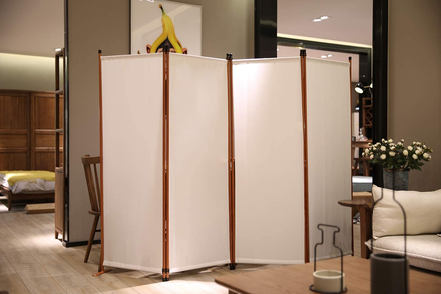 Beige Angel Living Protective Screens Room Divider Screen with 4 Panels Folding Room Partition Wall Furniture Outdoor Screens for Patio Privacy
