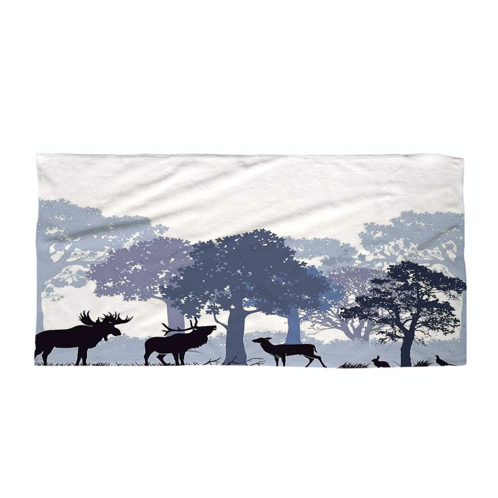 iPrint Cotton Microfiber Beach Towel,Moose,Forest Design Abstract Woods North American Wild Animals Deer Hare Elk Trees,Black White Grey,for Kids, Teens, and Adults