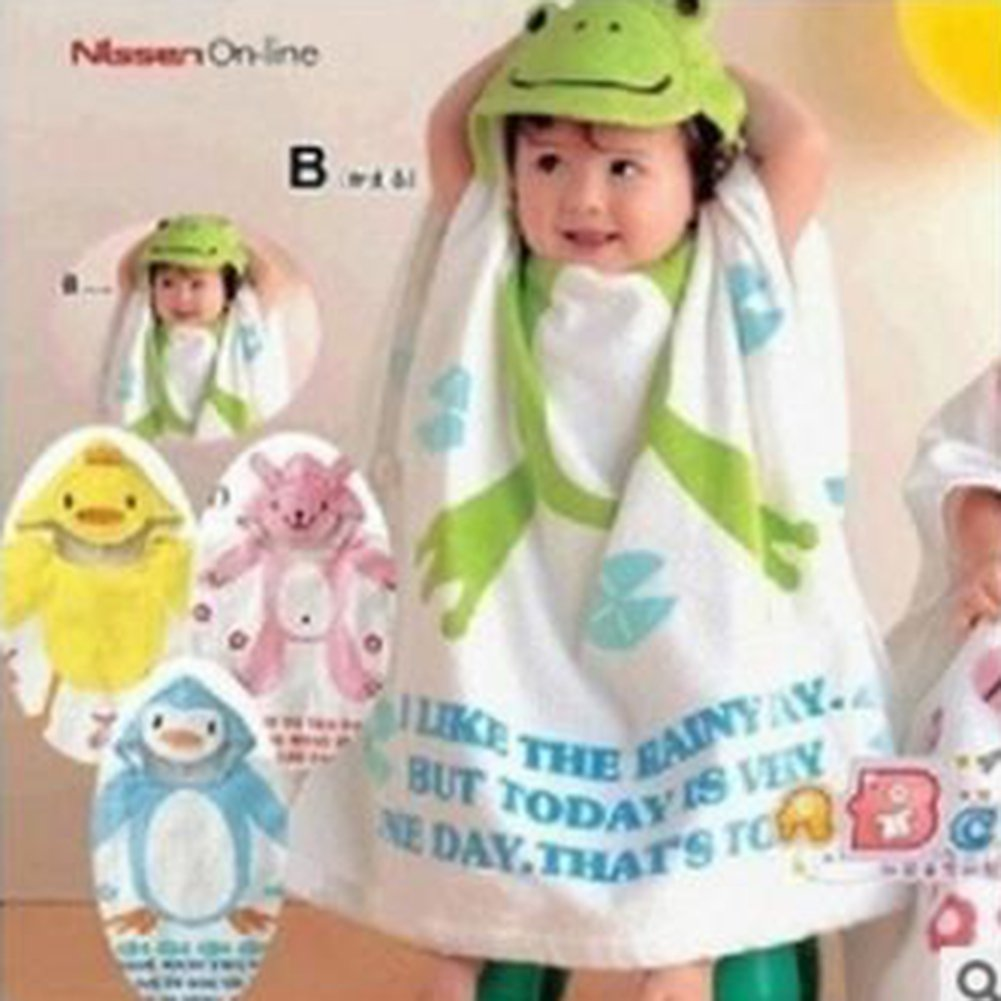 Highdas Kids Bath Towels Cute Animal-Shaped Hooded Cotton Bathing Wrap Blanket Beach Ttowel 0-6 years Frog