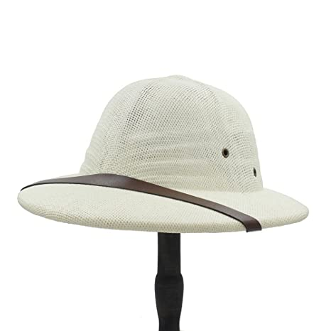 cc8ed83912bab Amazon.com  Yaojiaju Novelty Toquilla Straw Helmet Pith Sun Hats Vietnam  War Army Hat Dad Boater Bucket Hats Safari Jungle Miners Cap 56-59CMn Men   Sports   ...