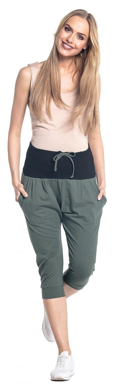 Happy Mama Femme Pantalon Grossesse Elastique Ceinture de Ventre Contrast/é 582p