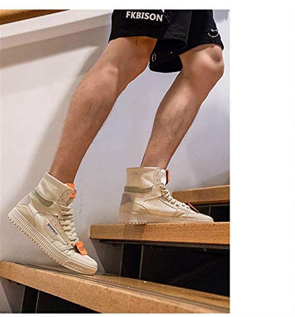 Fuxitoggo Männer in Breathable Breathable Breathable Canvas Schuhe Trend Harajuku Style Schnürschuhe High-Top-Schuhe Hip-Hop Street Dance Casual Board Schuhe (Farbe   Beige, Größe   6.5UK(Foot Length 26cm))  95a1f0