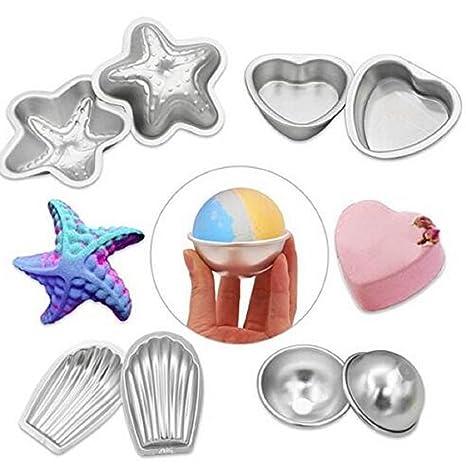 wendin Juego de 4 Metal de aluminio baño bomba Moldes Fizzies, Sales de baño,