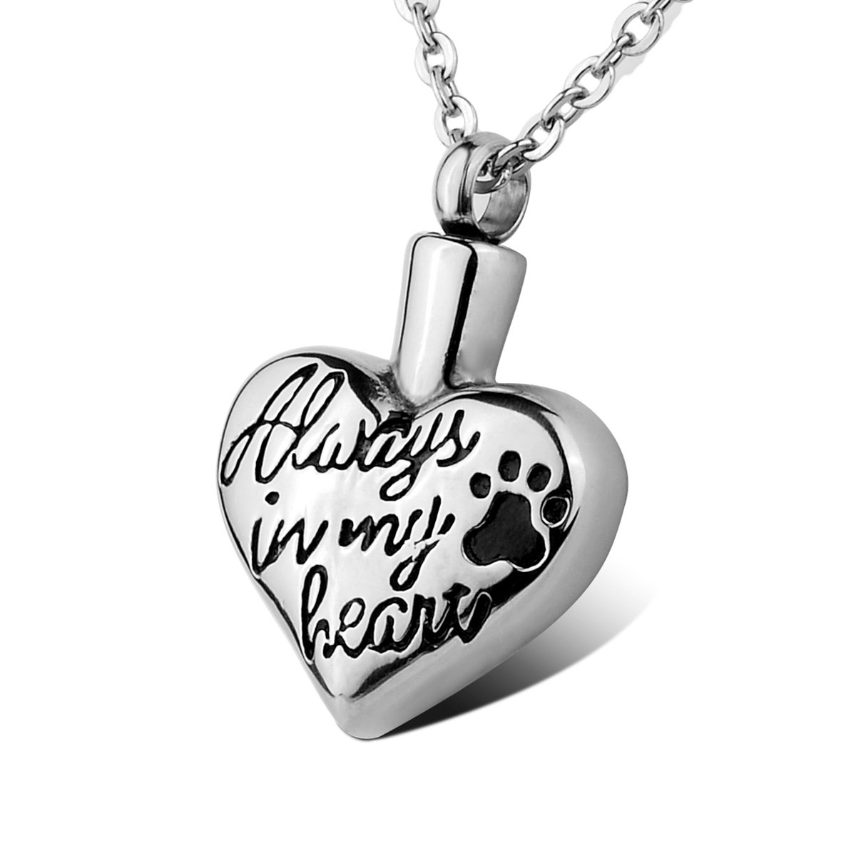 HOUSWEETY Always In My Heart Pet Dog/Cat Paw Stainless Steel Memorial Pendant Keepsake Jewerly Ashes Necklace with Free Engraving (Engraving)