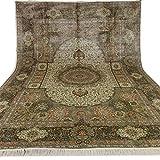 Yilong Vintage Handmade Persian Carpet Traditional Area Rug Silk Qum Medallion Living Room Carpet, 10' x14'