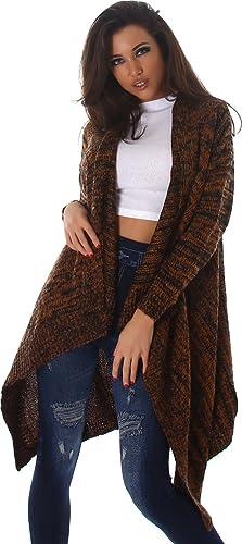 Voyelles - Cárdigan - Rayas - Manga Larga - para mujer marrón claro talla única 38,40,42