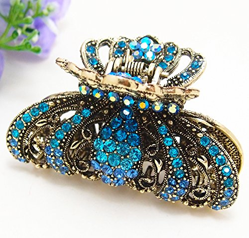 - Vintage Blue color Swarovski Crystal Butterfly Hair Claw Clip 89