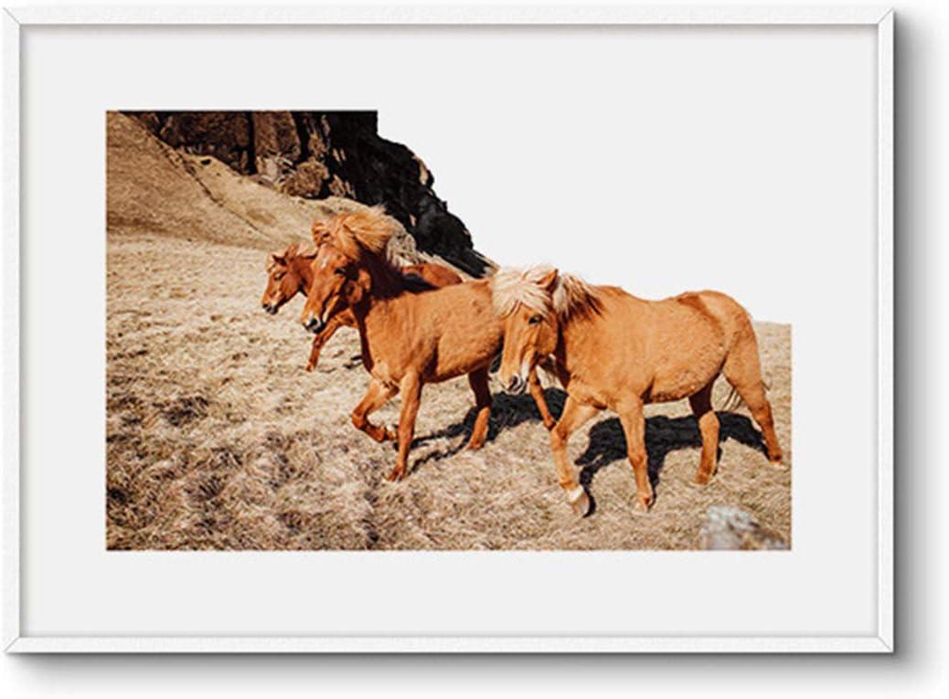 Kei Cielo y Caballos Decoración Moderna del Hogar Pintura Impresiones en Lienzo Pintura Artística con Marco Estirado y Enmarcado,B,30x40cm