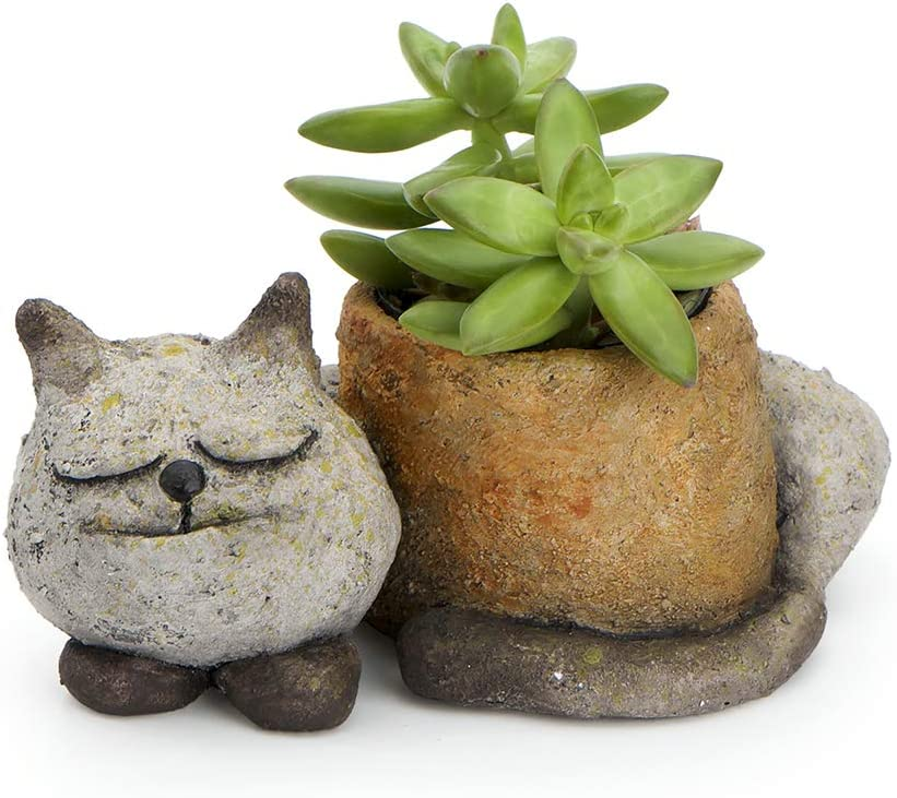 Sleepy Kitty Cat Planter, by Blobhouse, Decorative Planter w/Drain Hole Statue for Home Outdoor Garden Lawn & Indoor Art Accent Sculpture