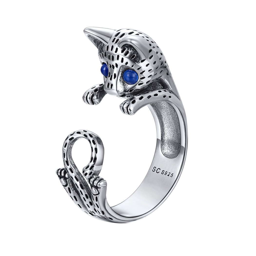 Lovely Cat Ring Blue CZ Eyes 925 Sterling Silver Personalized Kitty Jewelry Open Wrap Ring, Adjustable from Size 6 to 10