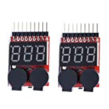 KIMILAR 2 Pcs RC Lipo Battery Low Voltage Tester Checker 1S-8S Buzzer Alarm with LED Indicator for RC Helicopter Quadcopter