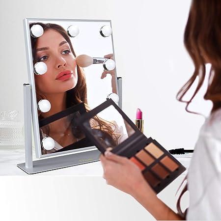 Ovonni Miroir Maquillage Miroir De Table Lumineux Touche Tactile Led Eclairage 9 Empoules Led Miroir Hd Led Cosmetique Sur Pied Reglable Style