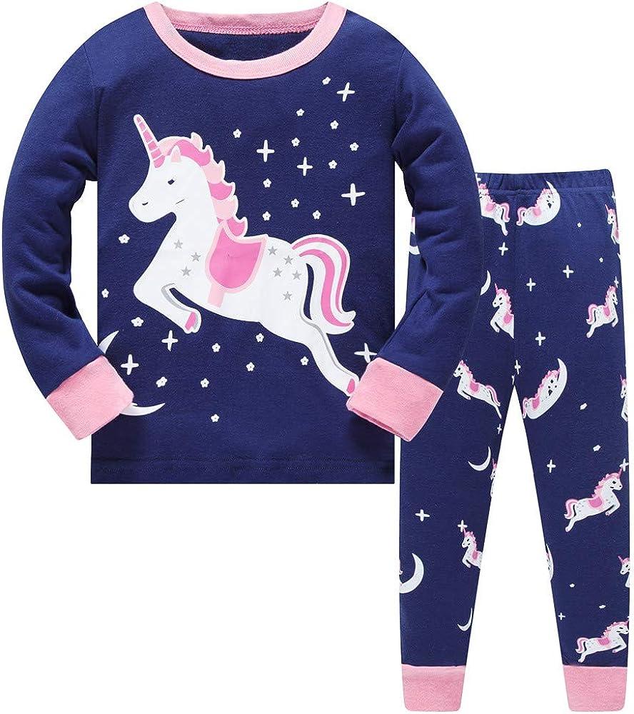 LitBud Navidad Pijamas de Las niñas pequeñas 100% algodón Jirafa Ropa de Dormir Pijama de Manga Larga pjs Conjunto para niños Talla 1 a 7 años Rosa
