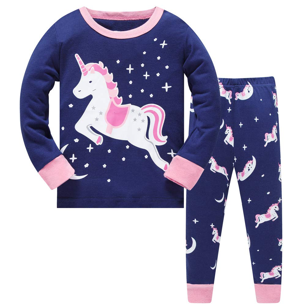 LitBud Toddler Girls Unicorn Pajamas Sleepwears 2pcs Long Sleeves Pjs Tops + Pants Sets for Kids Size 3-4 Years 4T