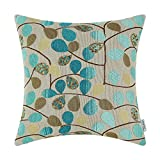 CaliTime Cushion Cover Throw Pillow Case Shell Couch Sofa Home Decoration Luxury Chenille Cute Leaves Both Sides 18 X 18 Inches Ecru Teal