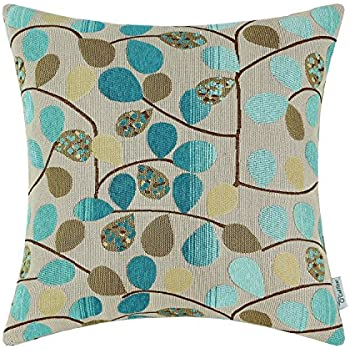 CaliTime Cushion Cover Throw Pillow Case Shell for Couch Sofa Home, Luxury Chenille Cute Leaves Both Sides, 18 X 18 Inches, Ecru Teal