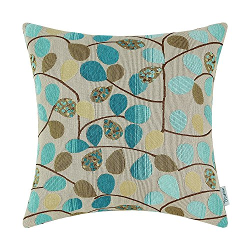 CaliTime Cushion Cover Throw Pillow Case Shell for Couch Sofa Home Decoration Luxury Chenille Cute Leaves Both Sides 18 X 18 Inches Ecru Teal (Brown Turquoise And Pillows)