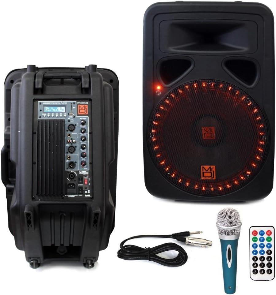 """Mr. Dj PP10LED 10"""" 10 Watts Bluetooth Speaker w/LED Lights, FM Radio,  USB/SD Input, LCD Screen, Microphone & Wireless Remote"""