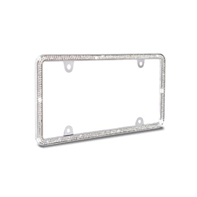 JR2 Shining Double Row Crystal Metal License Plate Frame+Free Screw Caps (White): Automotive