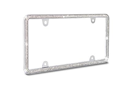 JR2 Super Shining Double Row Crystal Metal Chrome License Plate Frame (White Crystal)+  sc 1 st  Amazon.com & Amazon.com: JR2 Super Shining Double Row Crystal Metal Chrome ...