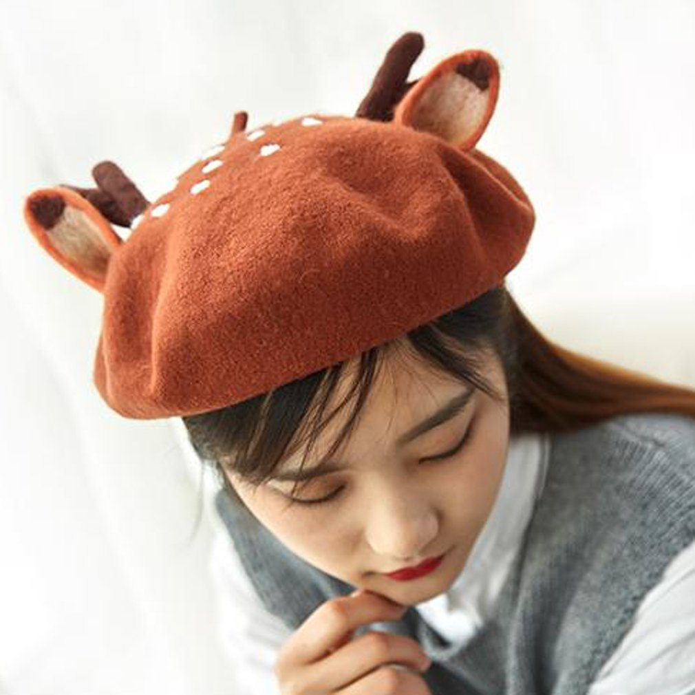 179f6b84866cb hearty lady Handmade Deer Antler Ear Beret Hat Vintage Painter Wool Cap  Gift at Amazon Women s Clothing store