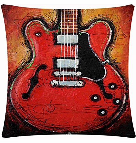 Retro Vintage European-style Abstract Oil Painting Guitar Cotton Linen Throw Pillow Case Personalized Cushion Cover NEW Home Office Decorative Square 18 X 18 Inches