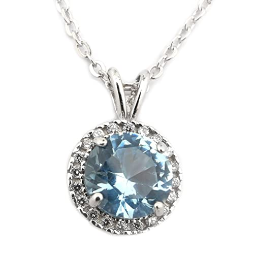 Sterling Silver Rhodium Plated Simulated Birthstone and CZ 8 Millimeter Halo Pendant Necklace